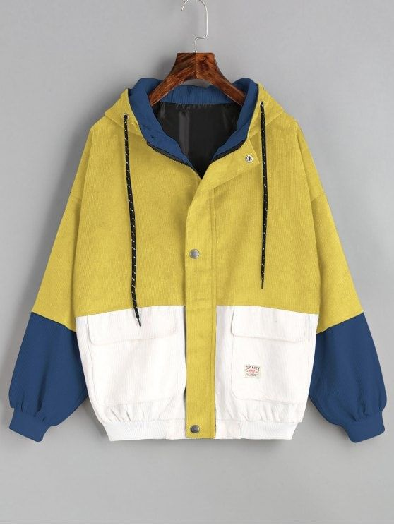44871b22ca Hooded Color Block Corduroy Jacket - YELLOW M | clothes i want to ...