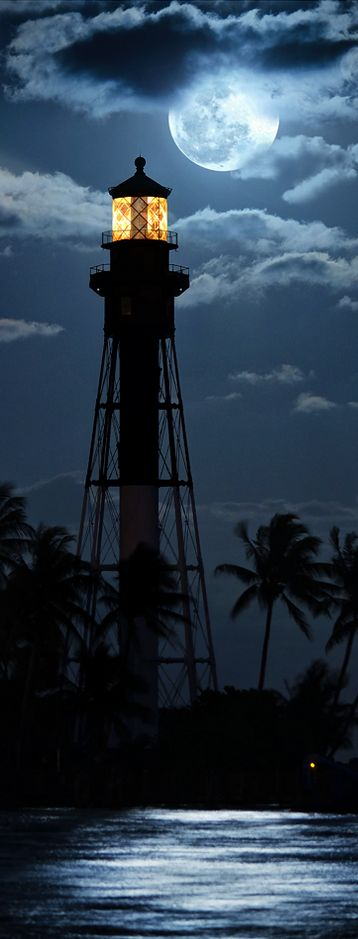 Moonlight - Lighthouse - Hillsboro Lighthouse in Hillsboro Beach, Florida.