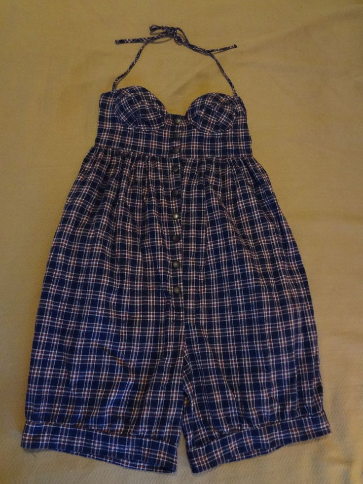 Early 90s Vintage Betsey Johnson Plaid Flannel Underwire Bloomers Romper Size P #BetseyJohnson #BratopBloomerRomper