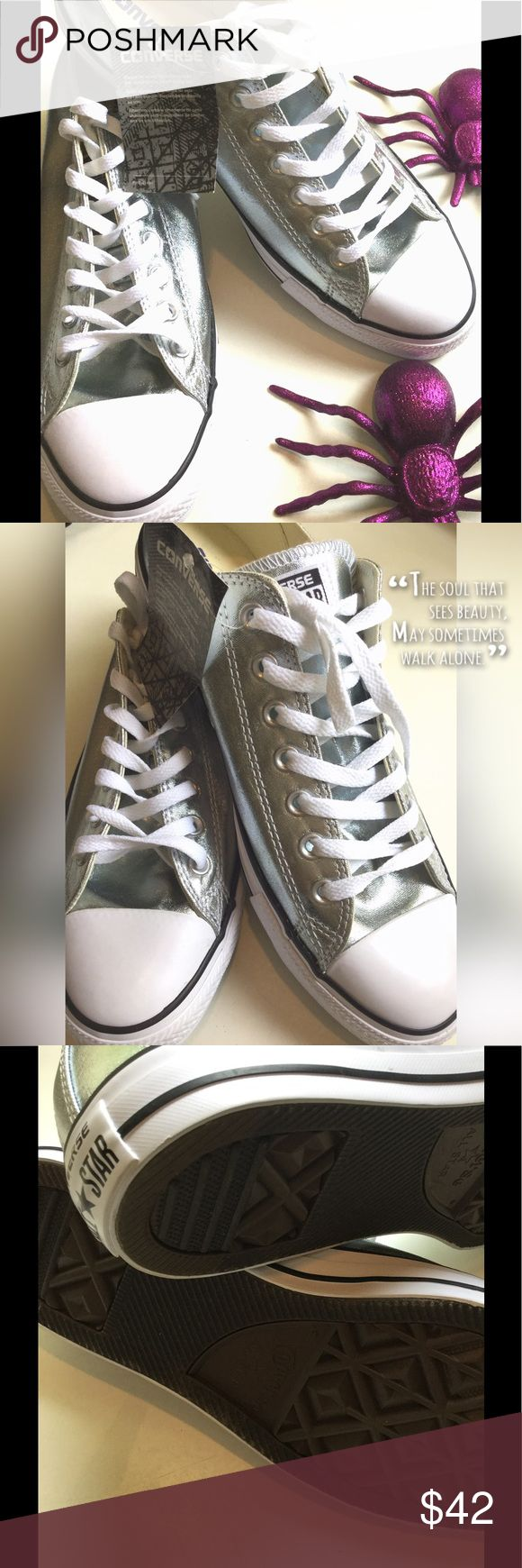 1hr sale Silver converse NWT sz 12 Silver converse NWT sz 12. Super cute awesome shoes. Converse Shoes Athletic Shoes