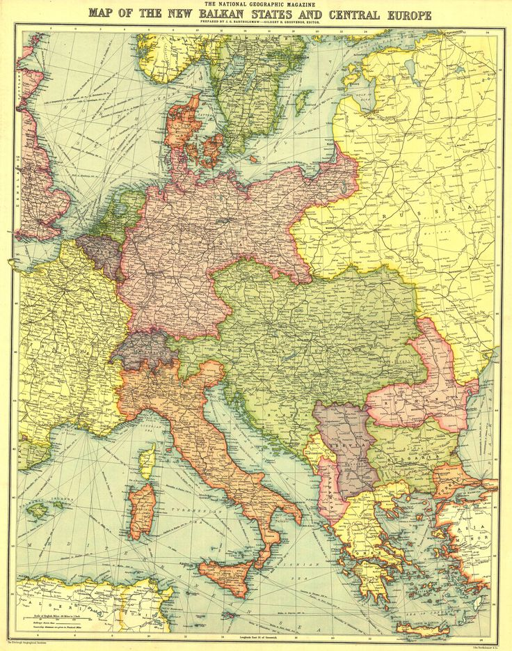 Map of the new Balkan states and Central Europe (National Geographic)