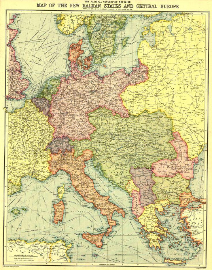 Mapa dos Novos Estados dos Balcãs e da Europa Central, 1914. Em julho deste mesmo ano começava a Primeira Guerra Mundial.