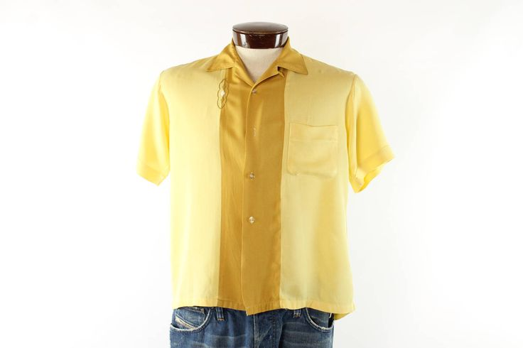 $78, Vintage 50s Button Up Shirt Yellow Rayon Short Sleeves Embroidered 1950s Atomic Rockabilly Mens Medium M Bowling Pilgrim by TheVintageReserve on Etsy