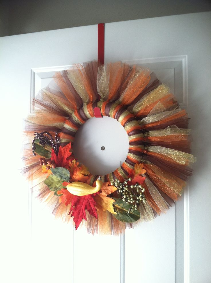 DIY Thanksgiving wreath! https://www.retailpackaging.com/products/2692-tulle #thanksgiving #DIY