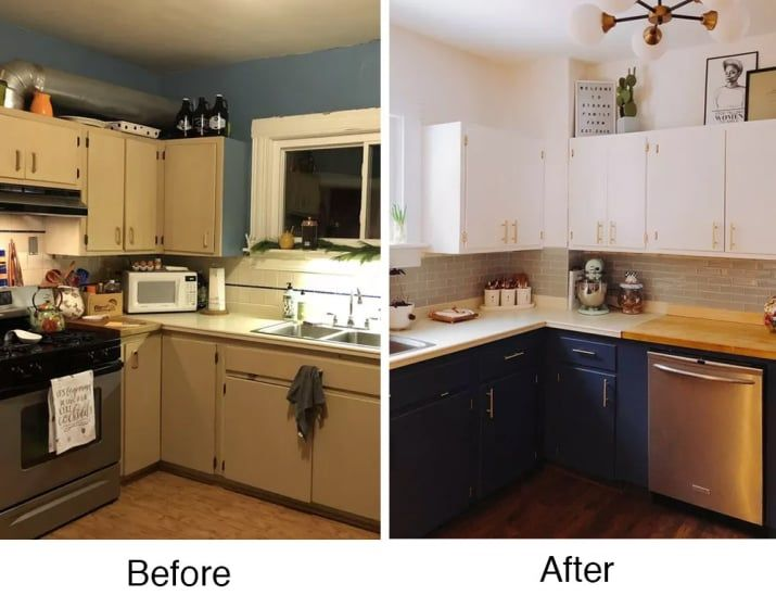 """My wife and I just finished our kitchen reno! We wanted to keep it cosmetic since we're not sure this is our forever home. Our best tip? If you have an old home with old walls, hire a professional painter! It will save you so much time and it's worth every penny.""— girlputinwerk"