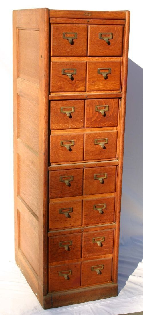 Lot: 80: antique oak Macey 16 drawer file cabinet in orig su, Lot Number: 0080, Starting Bid: $150, Auctioneer: Stanton Auctions, Auction: THE GEORGE CALKINS - MONSON, MA ESTATE, Date: November 19th, 2011 EST