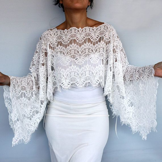 Bridal Shrug Lace Bridal Cape Tunic Shawl Bolero Off White
