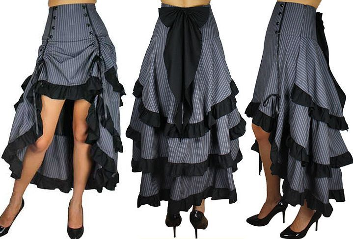 Cute gray and black layered skirt. Great detail work.