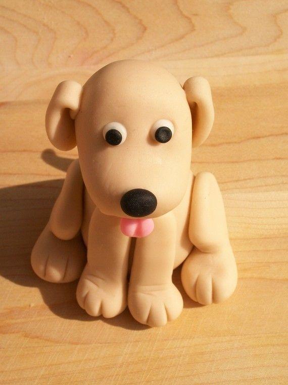 Fondant perro pastel de cumpleaños por FondantFads en Etsy