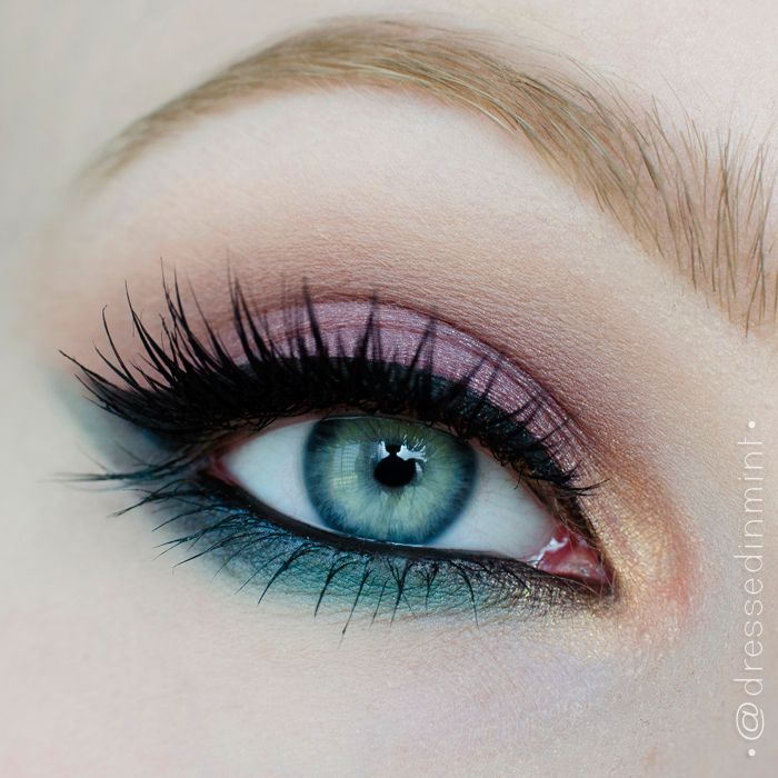 What a beautiful Spring inspired look by Dressed-in-mint using Makeup Geek's shadows in Burlesque, Drama Queen, Gold Digger, Ocean Breeze, Sea Mist, and Sensuous. Available at www.makeupgeek.com