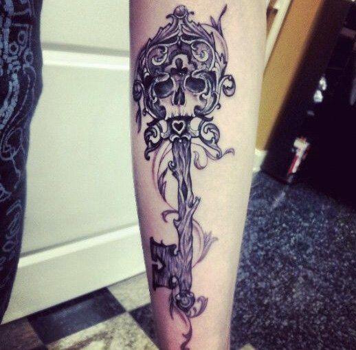 30 Key Tattoo Designs Ideas: Creative Skeleton Key Tattoo #SkeletonKey #KeyTattoo