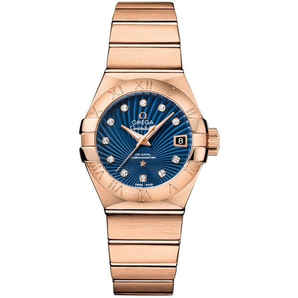Omega Constellation Blue Dial 18k Red Gold Automatic Ladies Watch (1.060.260 RUB) ❤ liked on Polyvore featuring jewelry, watches, water resistant watches, 18 karat gold watches, transparent watches, 18k watches and 18 karat gold jewelry