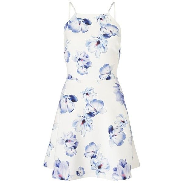 Ariana Grande For Lipsy Floral Frill Hem Skater Dress (€53) ❤ liked on Polyvore featuring dresses, vestidos, floral skater dress, pom pom dress, ruffle hem dress, skater dress and white skater dress