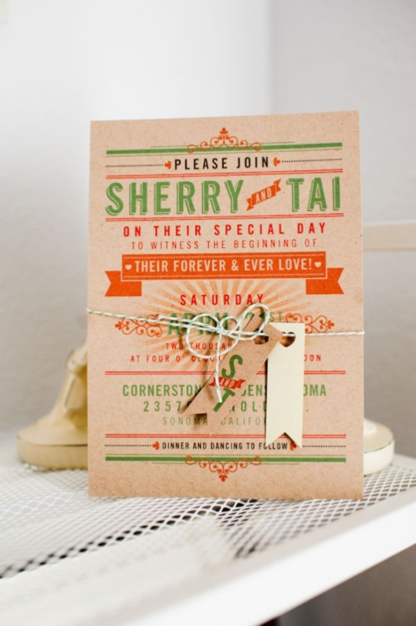 carnival-themed wedding invitations from Jen Simpson Design // photo by Alfred and Emma
