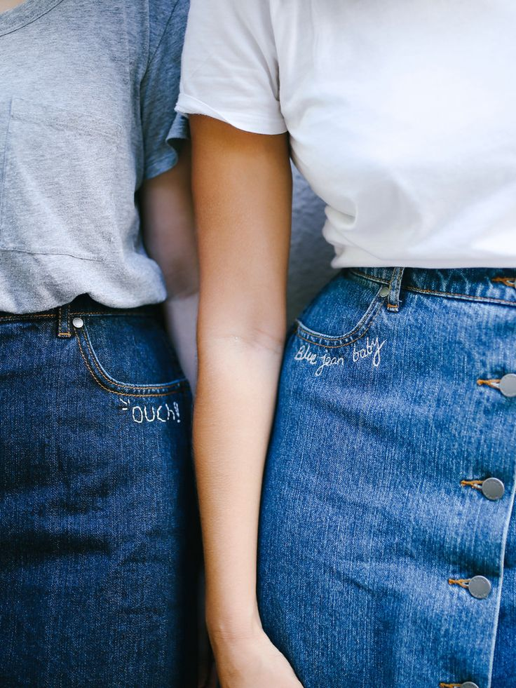 DIY Word Embroidered Denim Two Ways | A Pair and A Spare