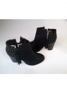 Ladies black tan block Heel zip studs metals metal trim Chelsea ankle boots.