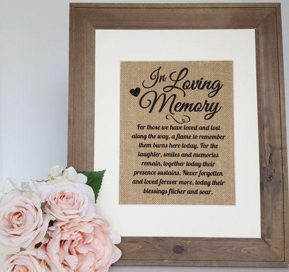In Loving Memory Wedding Burlap Print - Wedding Memory Table Burlap Sign…