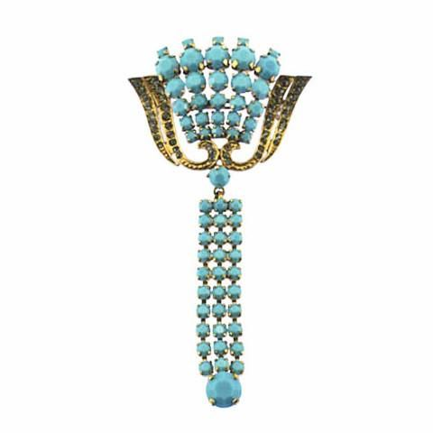Art Deco Baby Blue Rhinestone Tassel Brooch