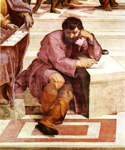 "RAFAEL SANZIO - ""A Escola de Atenas"" - Heraclito (retrato de Michelangelo) 1509-10, larg 770 cm, afresco, Stanza della Segnatura Vaticani, Roma.    Veja mais: http://www.auladearte.com.br/historia_da_arte/rafael.htm#ixzz30IXTwRai Under Creative Commons License: Attribution Share Alike"