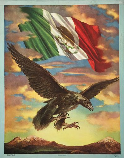 Cielo De Mexico (Sky Of Mexico) original vintage travel poster from 1960. Features eagle flying and a Mexican flag above him.