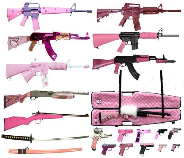 Lots of pink guns. I believe in carrying concealed weapons. I believe ALL guns should be pink, little, and cute, and should be issued to all women. That will make the bad guys feel silly carrying them. And think twice about hurting women.