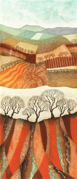 Winter Patchwork - Fields & Furrows by Rebecca Vincent