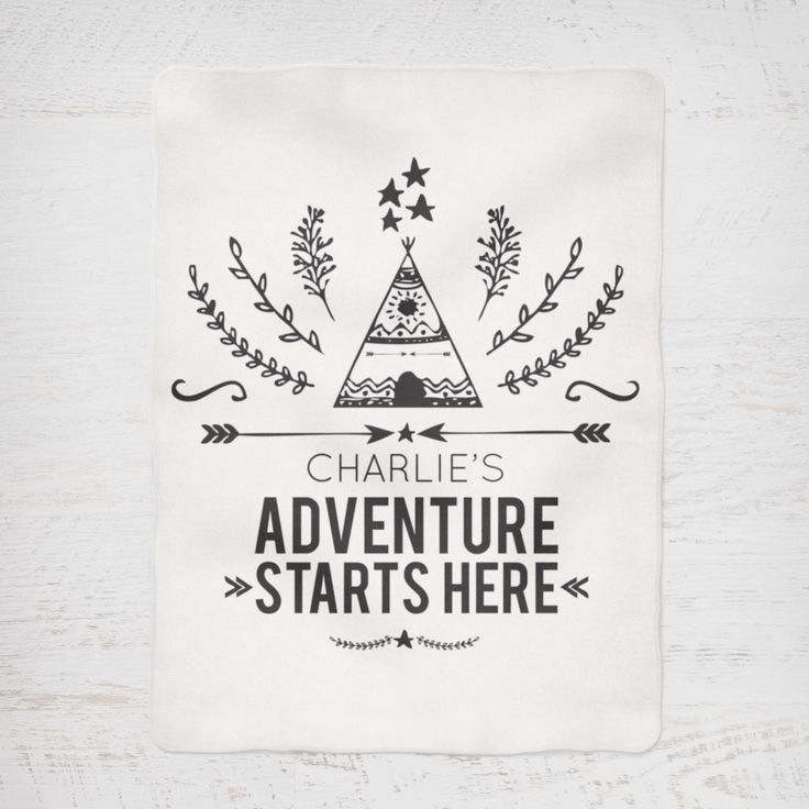 Colour and Spice Personalised Blanket Adventure Starts Here Monochrome