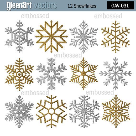 #Glitter Digital Snowflakes #Silver snowflakes #Gold snowflakes #Glitter clipart