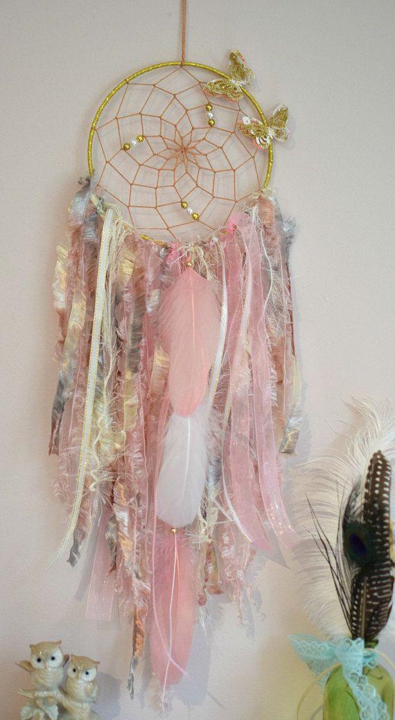 Traumfänger grau rosa, Schmetterling Dream Catcher Kinderzimmer, Wandbehang Dreamcatc …   – Baby Stuff