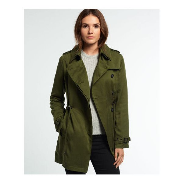 Superdry Winter Draped Trench Coat ($65) ❤ liked on Polyvore featuring outerwear, coats, green, drape coat, green coat, leather-sleeve coats, superdry and superdry coats