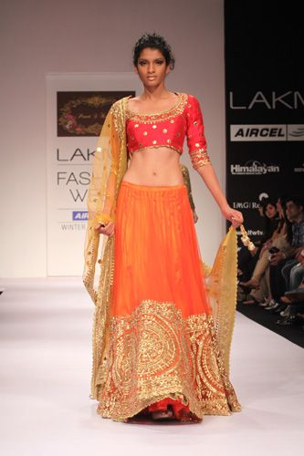 Orange, pink and Gold Lengha