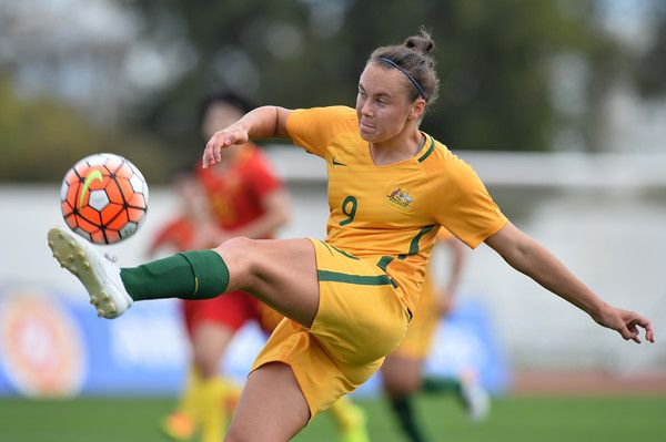 Caitlin Foord of Australia in action during the Women's Algarve Cup Tournament match between China and Australia at Municipal de Albufeira on March 6, 2017 in Albufeira, Portugal.