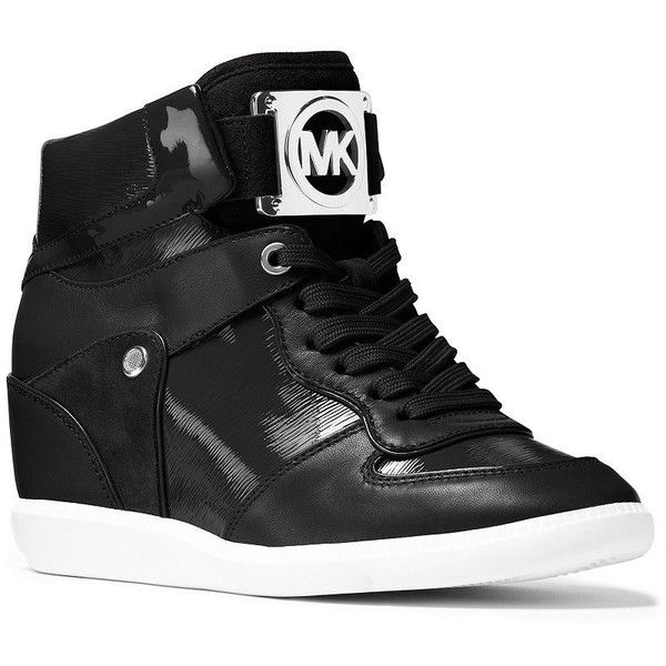 Michael Michael Kors Nikko High-Top Hidden Wedge Sneakers ($195) ❤ liked on Polyvore featuring shoes, sneakers, black, hidden wedge heel sneakers, black sneakers, black hi top sneakers, black high tops and black patent leather shoes