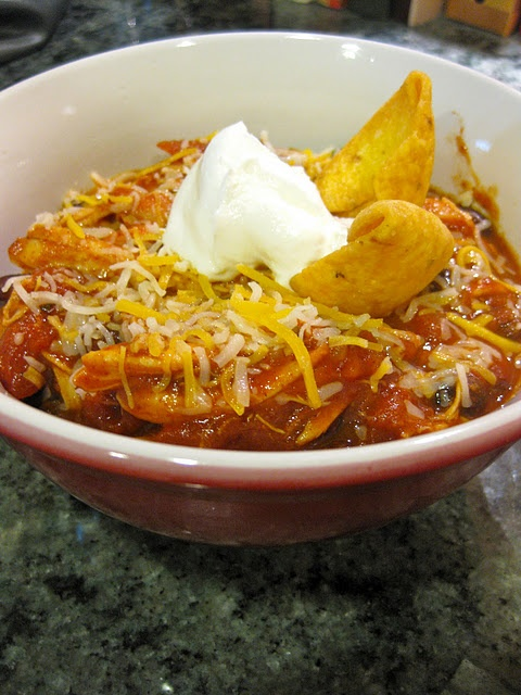 crockpot chicken chili and cornbread -- Pinned from justcookalready.com