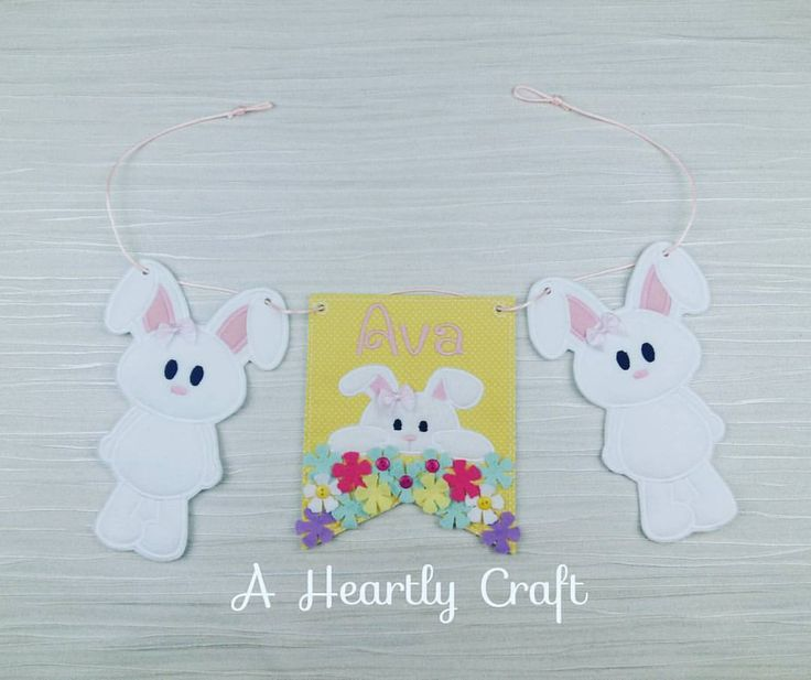 64 best banners bunting in felt and fabric birthday gift personalised bunny rabbit banner bunting wall decor accessory decoration baby shower easter birthday party celebration gift negle Images