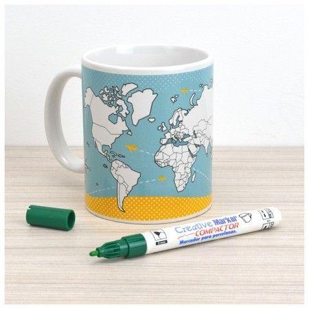 Caneca Mapa-Múndi para Colorir + Caneta Especial para Porcelana