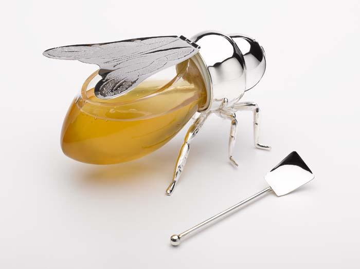 Silver Honey Bee Honey Pot