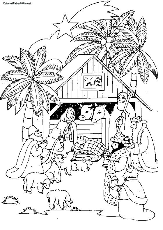 Nativity Scenes Coloring Pages Pictures Christmas