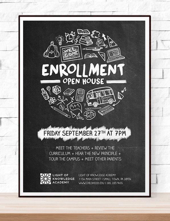 school open house printable flyer template for teachers