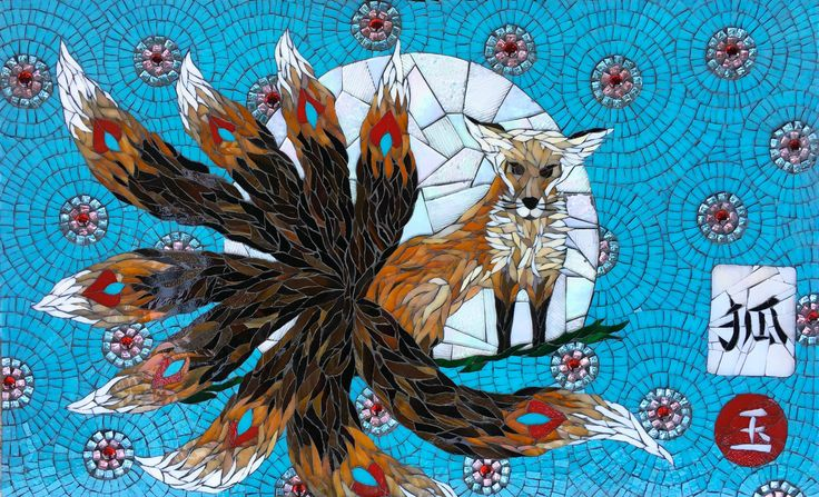 Jade the Fox Mosaic by mosaic artist Dyanne Williams