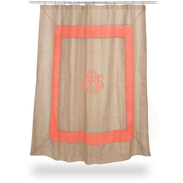 Monogrammed Burlap Shower Curtain CORAL boarder Font shown MASTER... ($70) ❤ liked on Polyvore featuring home, bed & bath, bath, shower curtains, coral shower curtains, burlap shower curtains and monogrammed shower curtains