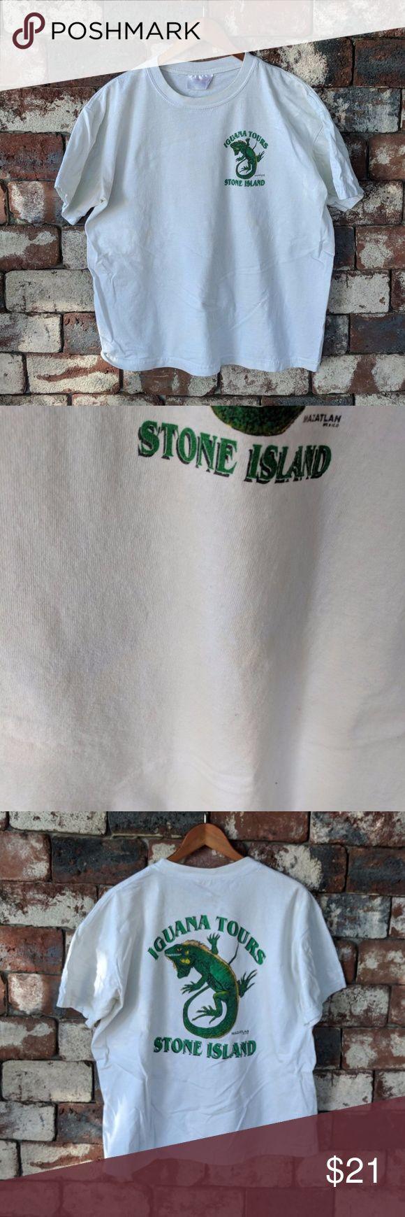 Vintage Mazatlan Stone island t-shirt Vintage Mazatlan Stone island t-shirt  Faded size tag reads XXL  Barely visible yellow spot (pic 2) 🍺🍺🍺   #mazatlan #mexico #stoneisland #beer #iguanatours #beer #cerveza #springbreak #vintage #90s Shirts Tees - Short Sleeve
