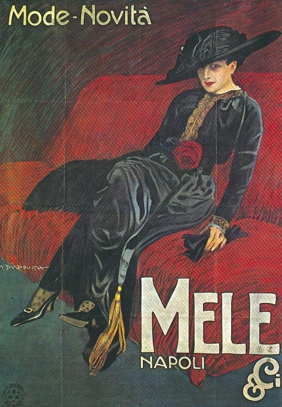 """Marcello Dudovich; The fashion store """"Mele"""" Napoli"""