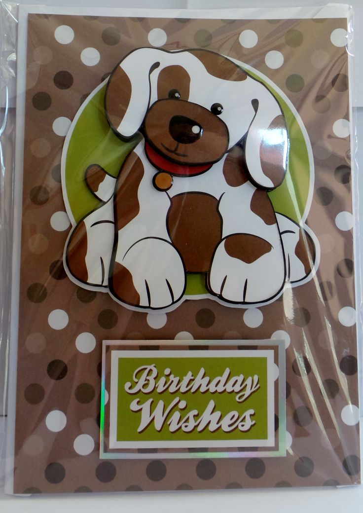 A5 3D dog with glossy eye's, nose and dog tag with hand made envelope