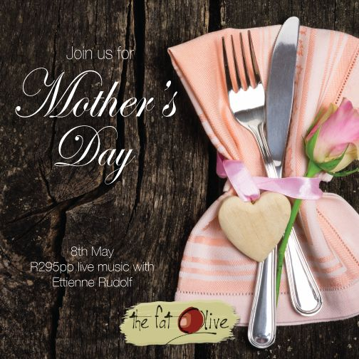 Spoil your mom this Mother's Day by joining us for a delicious lunch in a beautiful setting on the 8th May! R295 per person and live entertainment with Ettienne Rudolf Booking essential on 071 354 6622