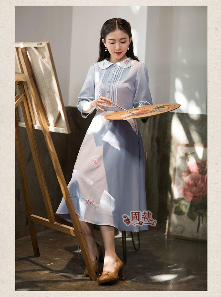 Шифоновые платья - Упрямый 2016 старинные женщин осень новый литературный приталенный кукла воротник вышитые платья Макси платье
