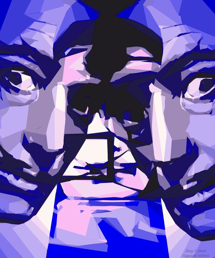 """""""Surreally Dali II in blue"""". Original digital painting of the master himself. Prints on canvas or archival paper. Choice of frame styles and matting by Oklahoma artist Larry Lamb. 1-larry-lamb.artistwebsites.com"""