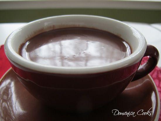 Recipe for thick Italian hot chocolate, made with cream, dark cocoa powder and cornstarch. Domenica Cooks.