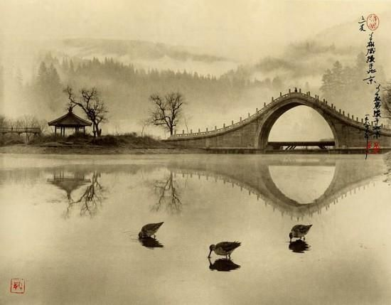 Artist Dong Honh-Oai; photos in the manner of traditional Chinese paintings using layered negatives to build tiers of distance.