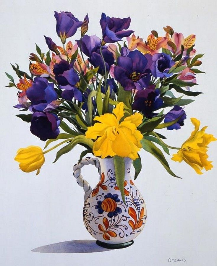 Christopher Ryland SBA (b.1951) —  Purple and Yellow Flowers in a Jug  (734x900)